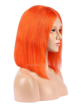 Orange Red Human Hair Bob Wig Colorful Lace Wigs