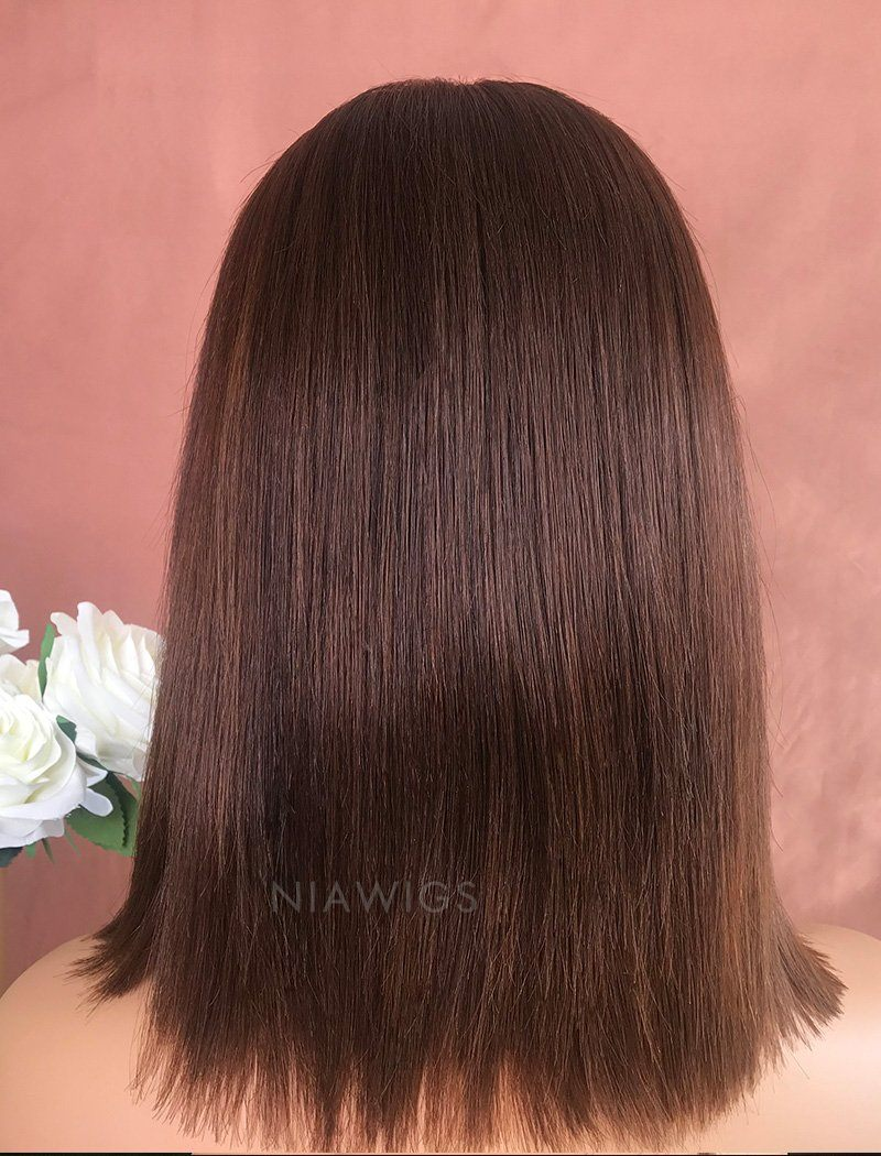 Emily Virgin Hair 10 Inches Lace Front Wig #4 Medium Brown