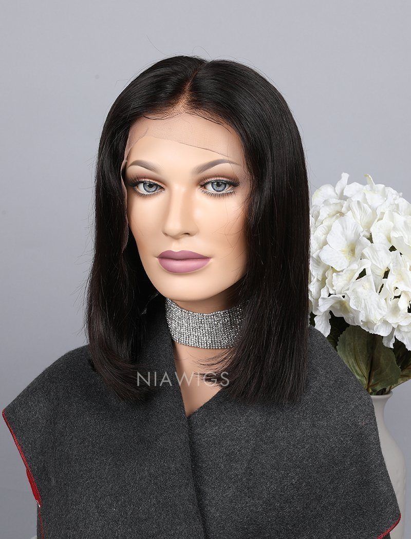 Silky Straight Bob Cut Human Hair Skin Base Lace Front Wigs