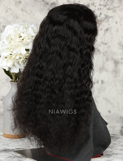 Loose Curly Stock Wig Human Hair Natural Color Machine Made Wigs