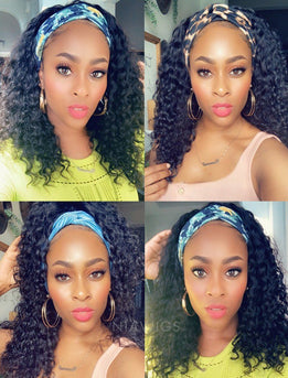 Headband Wig 2020 Fashion Curly Human Hair Machine Made Wigs