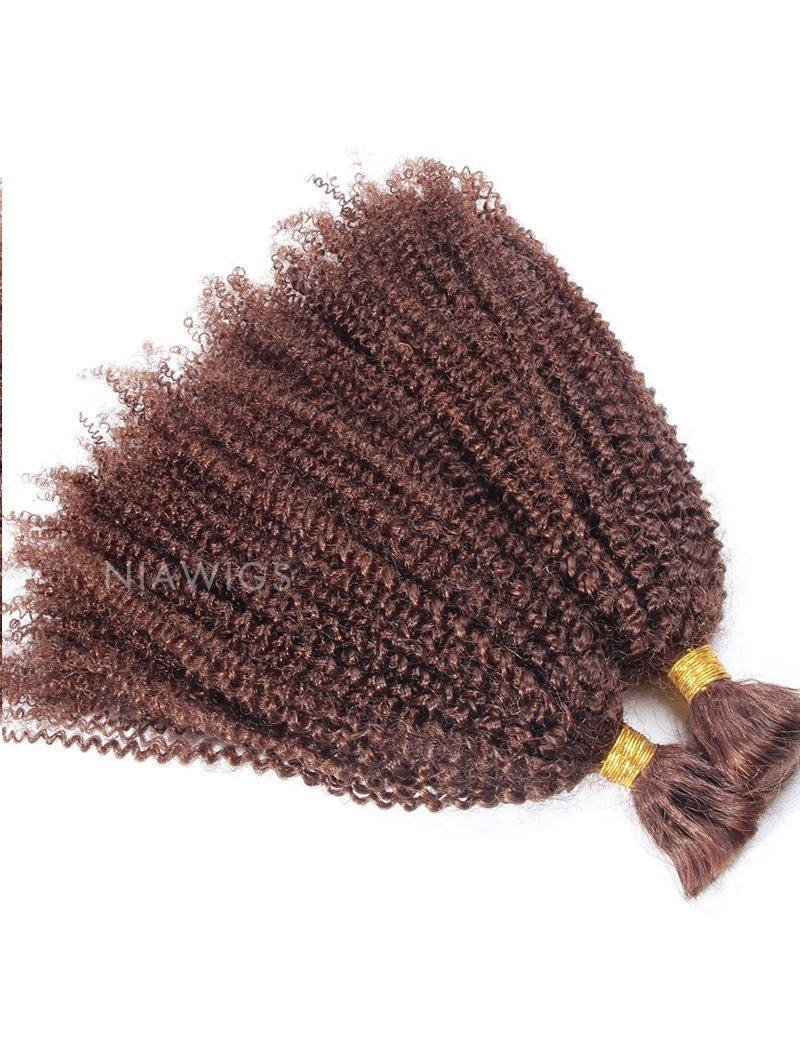 Bulk Human Hair for Braiding #33 Dark Auburn Kinky Curly Brazilian Hair