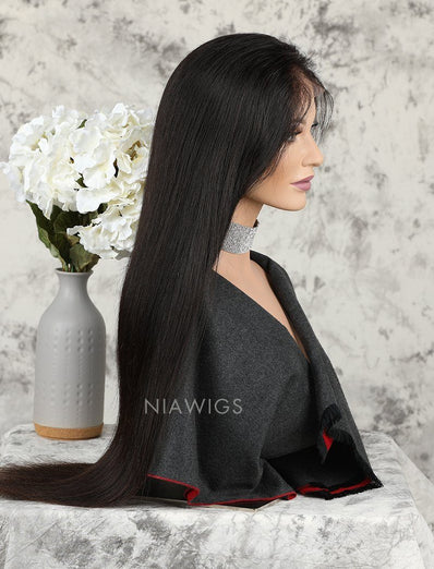Silky Straight Human Hair Glueless Full Lace Wigs With Baby Hair