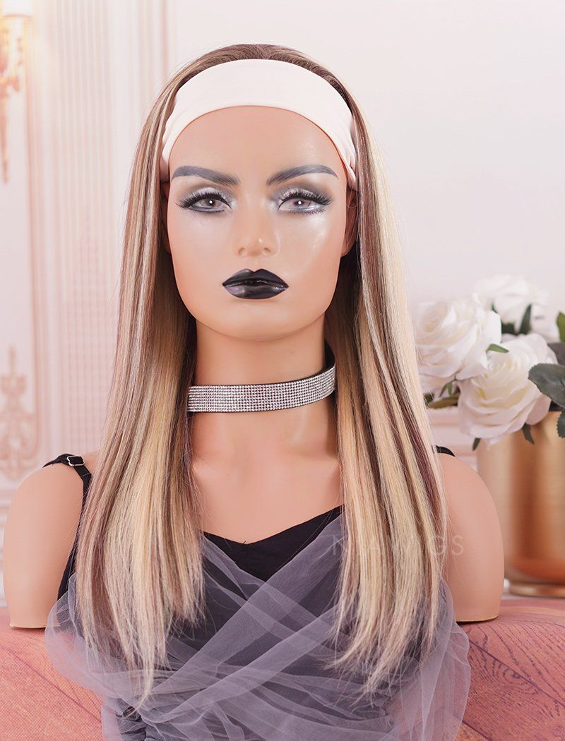 Highlight Headband Wig Straight Human Hair Wigs (WITH ONE FREE TRENDY HEADBAND)