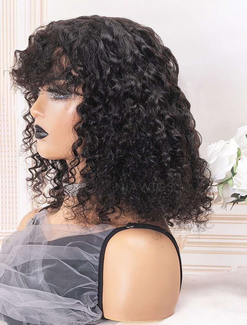 Scalp Top Wig Curly Human Hair Wigs With Bangs Machine Made