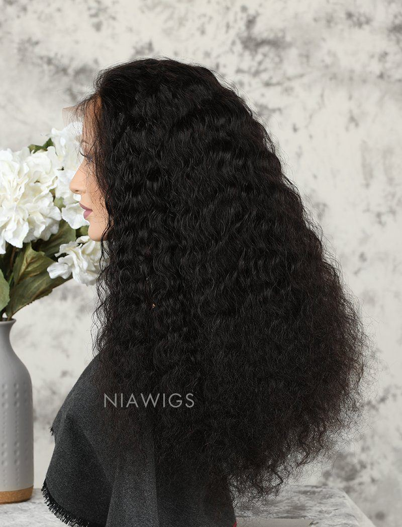 Deep Wave Human Hair 5x5 Inches Lace Front Wigs With Natural Hairline