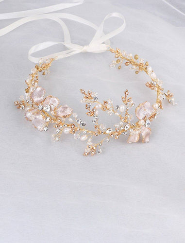 Fragile Crystal and Pearl Metal Crown Wedding Hair Wreath Hair Band with Ribbon