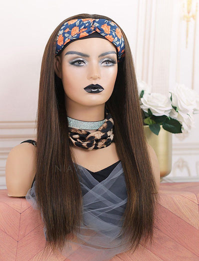 Gloria #Highlight Head Band Wig Silky Straight Human Hair Machine Made Wigs