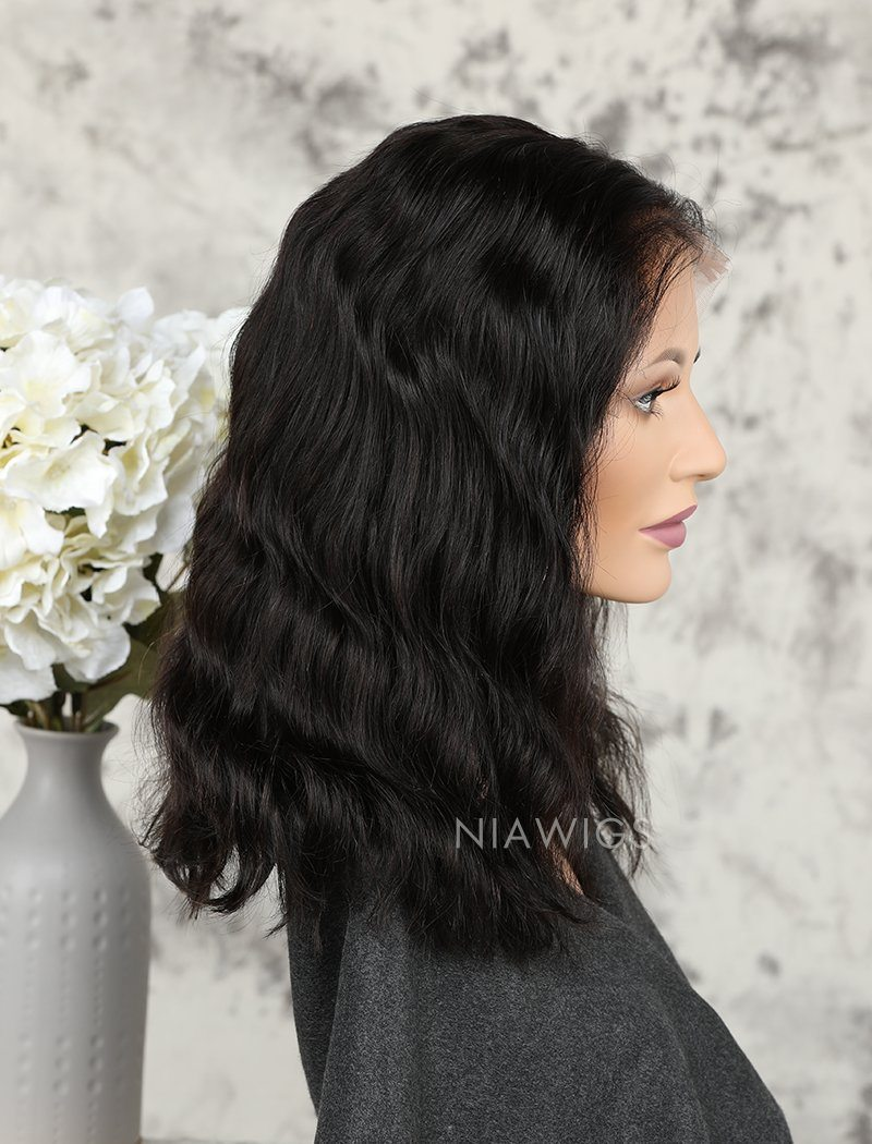 Load image into Gallery viewer, Fashion Bob Cut Natural Wavy Human Hair Glueless Full Lace Wigs
