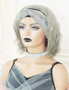 Load image into Gallery viewer, #Salt and Pepper Headband Wig Wavy Human Hair Machine Made Wigs