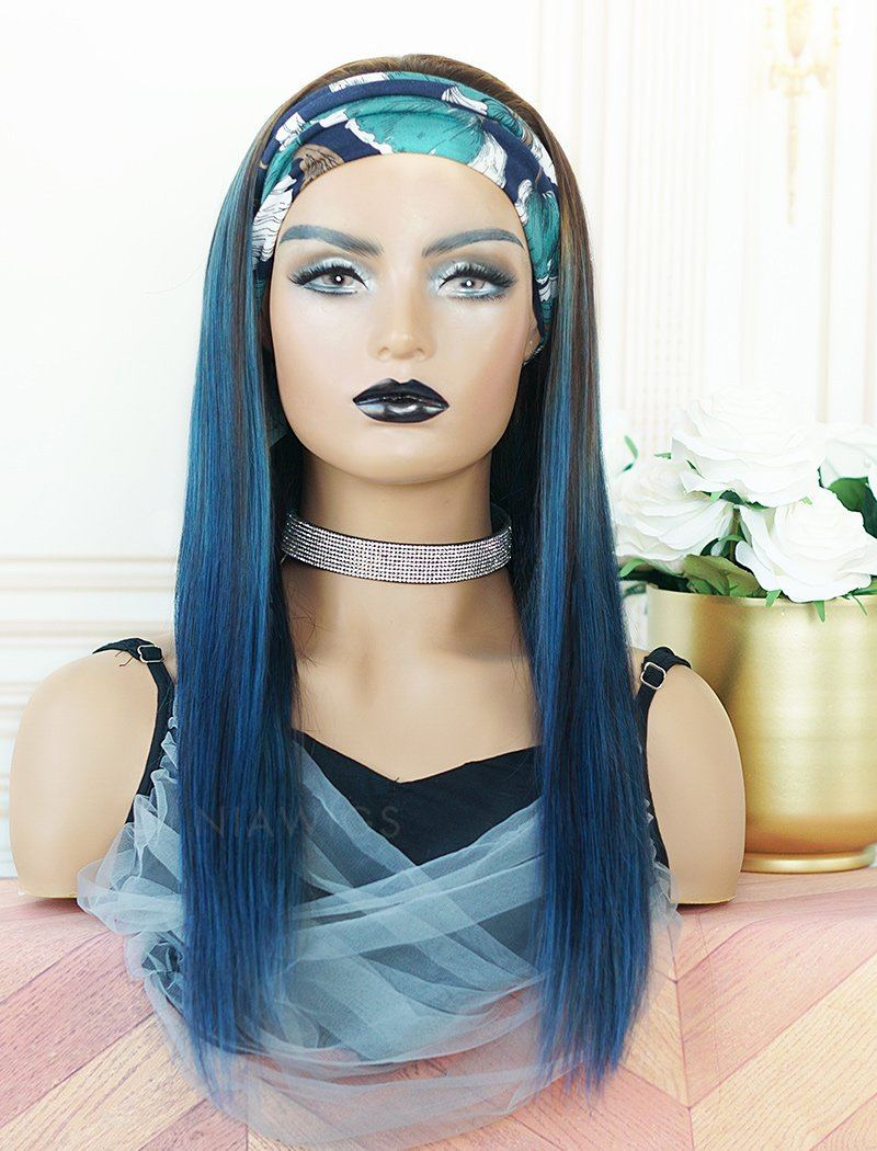 Load image into Gallery viewer, Kimberly #Ink Blue Headband Wig Human Hair Machine Made Wigs