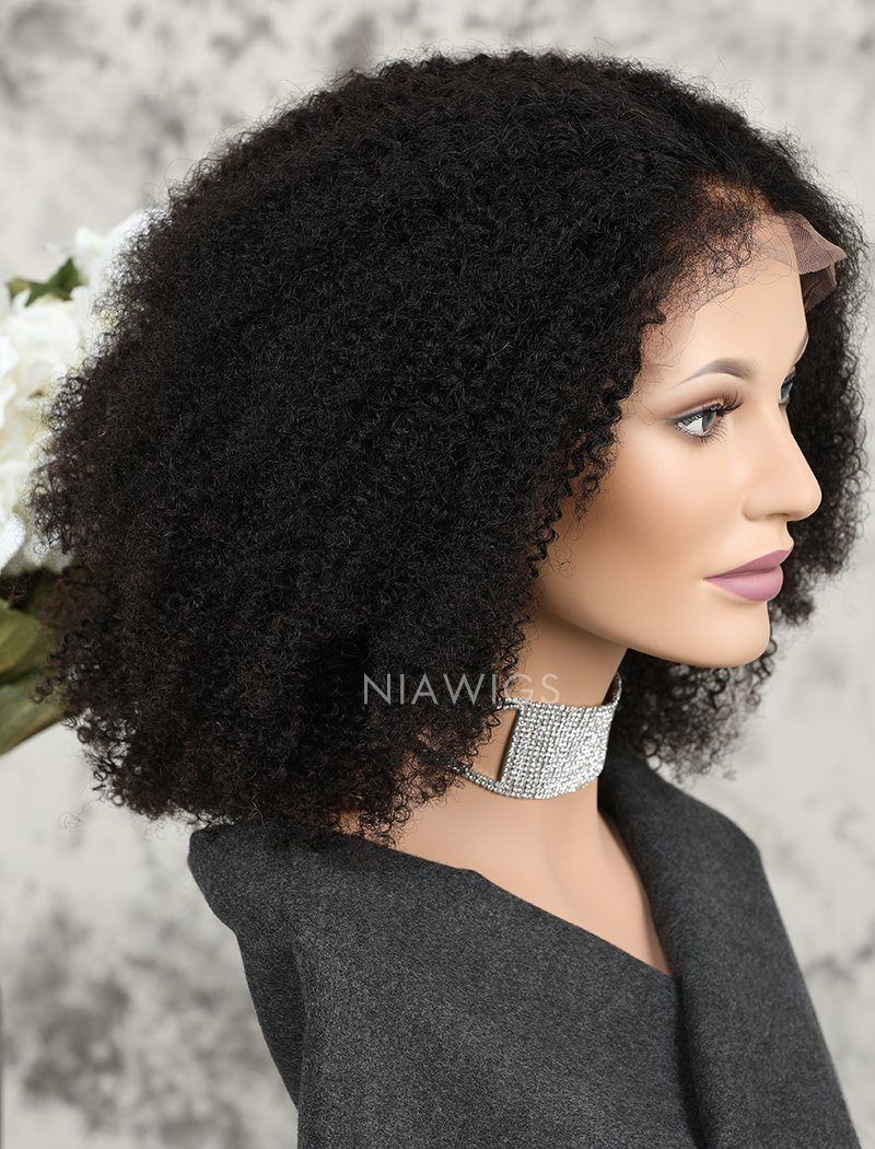 Afro Kinky Curly Human Hair Glueless Full Stretchable Wigs