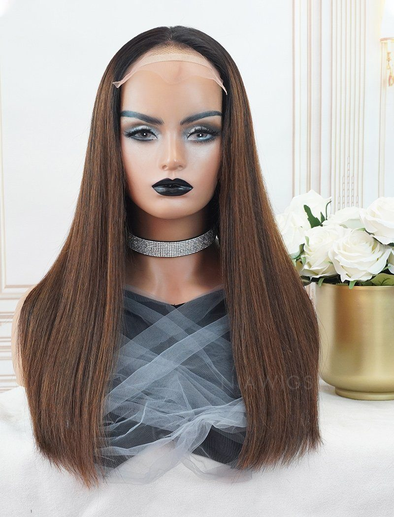 Connie #1b/#4 Highlight Skin Base Lace Front Wigs Human Hair Silky Straight