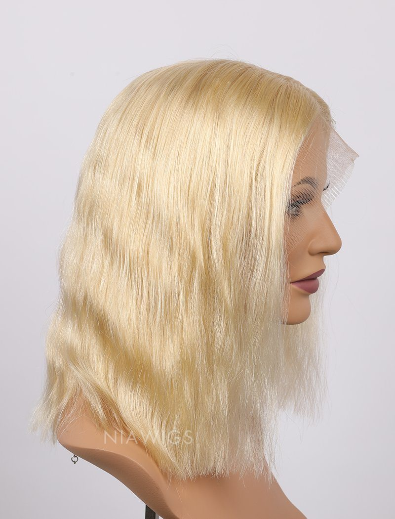 Load image into Gallery viewer, #613 Blonde Human Hair Lace Front Wigs Blunt Cut Natural Wavy