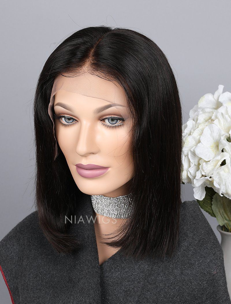 Blunt Cut Short Bob Human Hair 5x5 Inches Lace Front Wigs Silky Straight