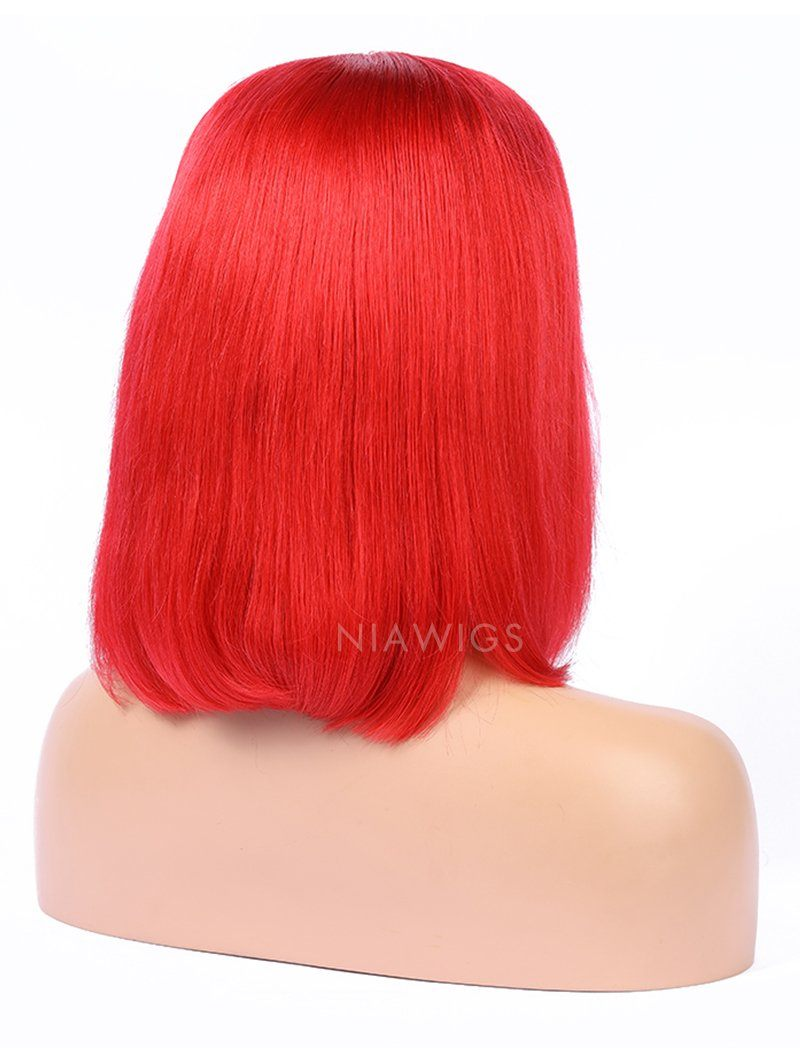Red Human Hair Bob Wig Colorful Lace Wigs
