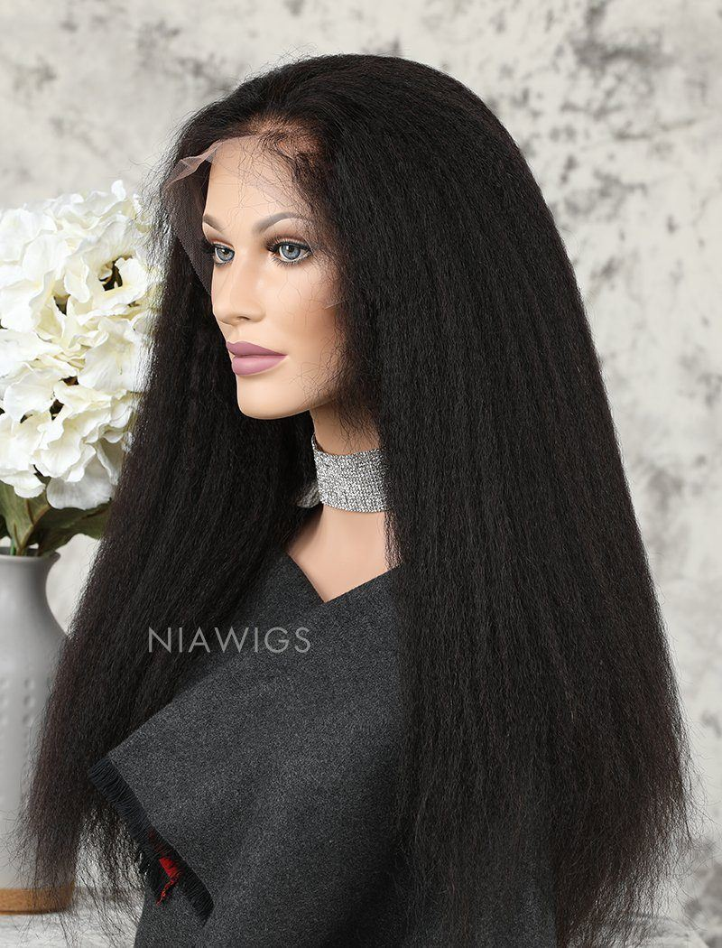 Kinky Straight Human Hair Glueless Full Stretchable Wigs