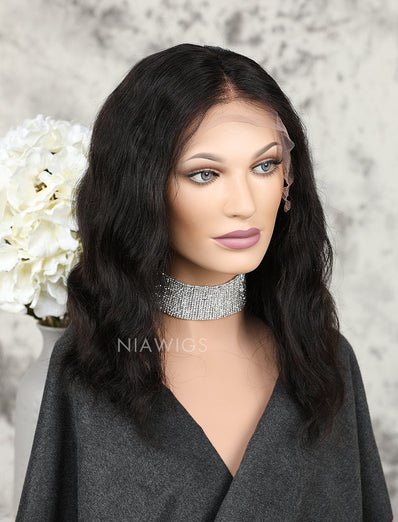 Bob Wavy Human Hair Glueless Full Lace Wigs