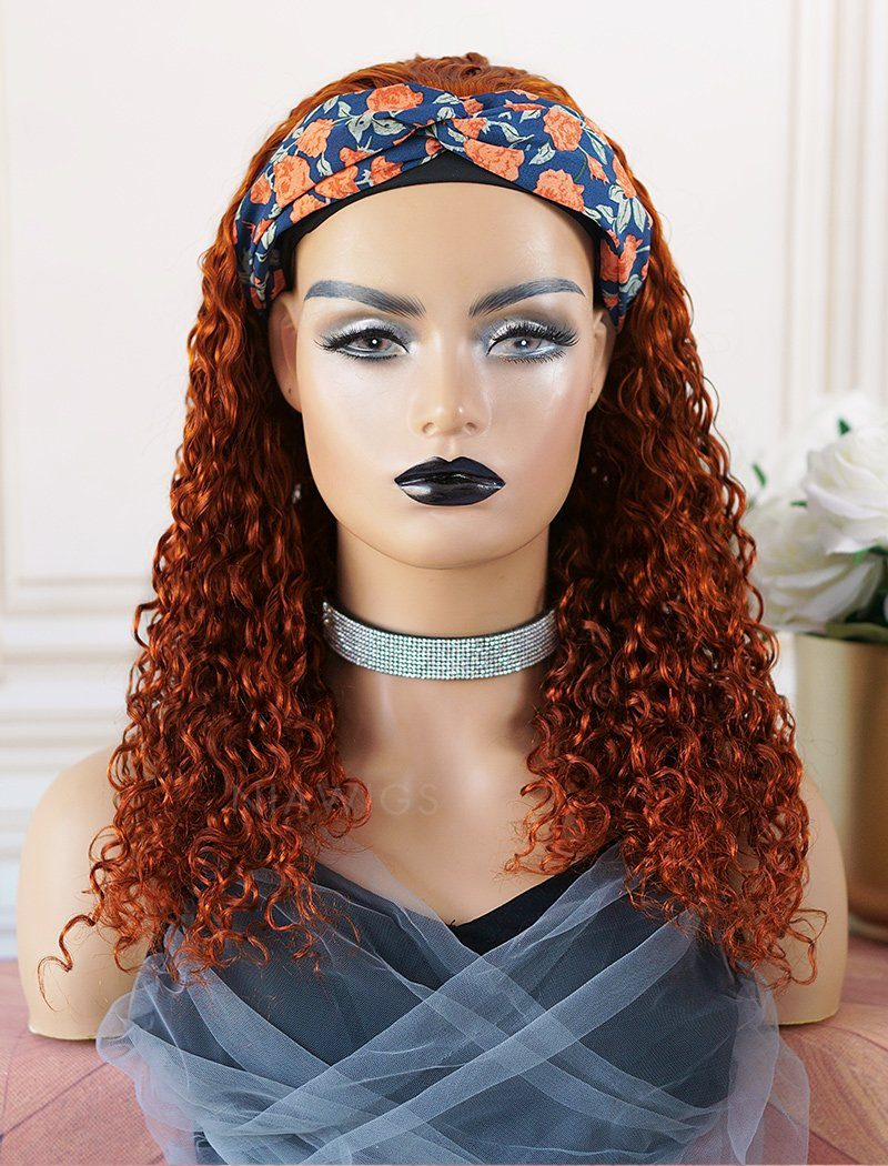 Mona #Burgundy Headband Wig Curly Human Hair Wigs (WITH ONE FREE TRENDY HEADBAND)