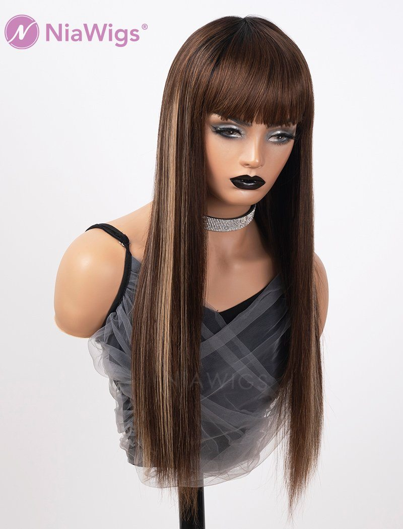 Scalp Top Highlight Wig Piano Color With Bangs Human Hair Wigs Machine Made