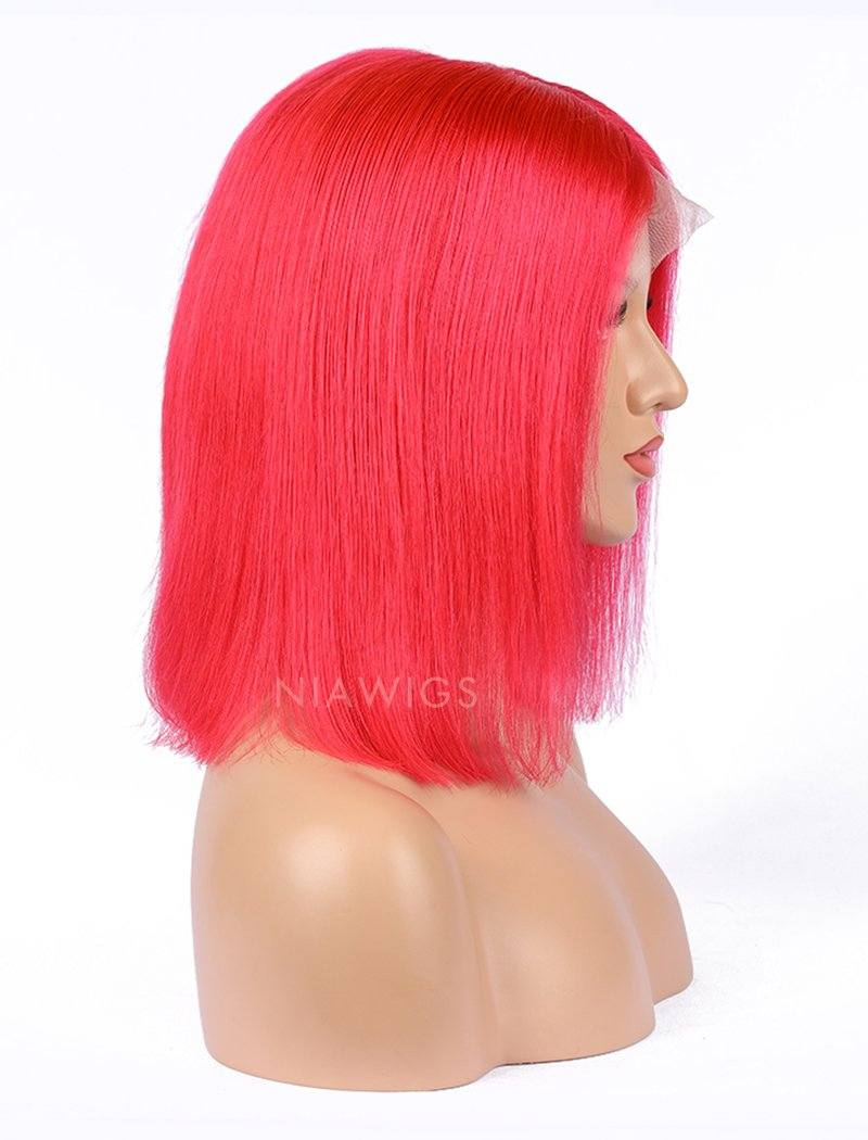 Load image into Gallery viewer, Watermelon Red Human Hair Bob Wig Colorful Lace Wigs