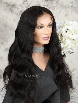 Natural Wave Human Hair Glueless Full Lace Wigs With Baby Hair