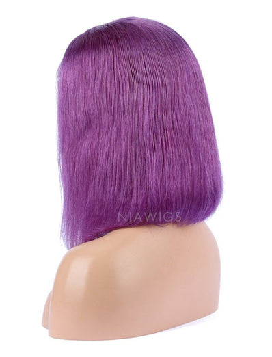 Blue Violet  Human Hair Bob Wig Colorful Lace Wigs