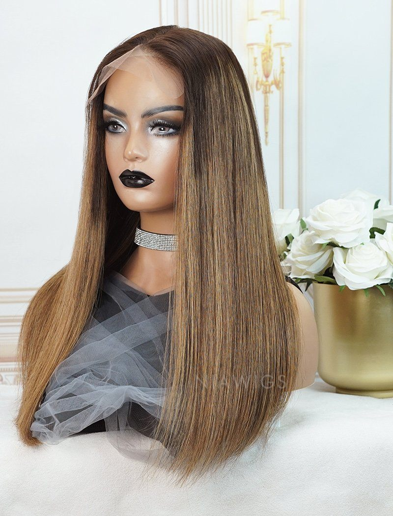 Nerissa  #1B/#27 Highlight Skin Base Lace Front Wigs Human Hair Silky Straight