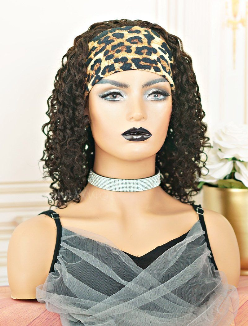 2021 Best Selling Headband Wig Curly Human Hair Wigs (WITH ONE FREE TRENDY HEADBAND)