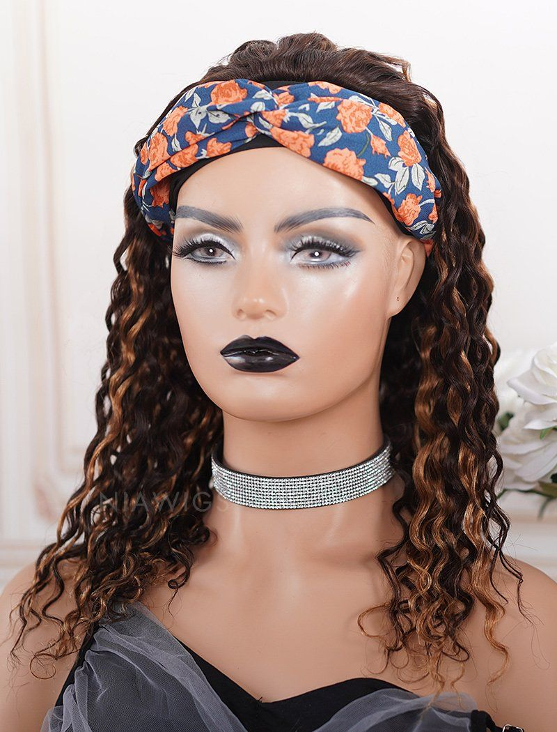 Load image into Gallery viewer, Monica#Highlight Headband Wig Curly Human Hair Machine Made Wigs