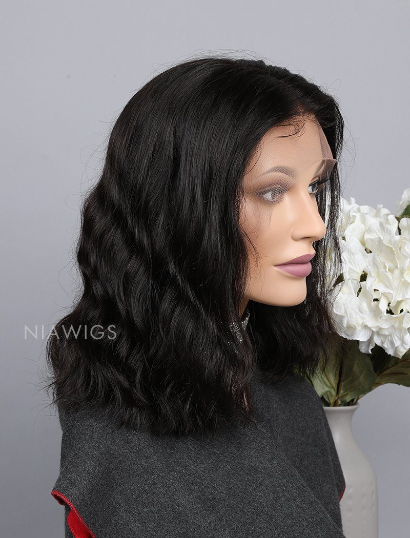 Load image into Gallery viewer, Natural Wavy Bob Cut Human Hair Glueless Full Lace Wigs