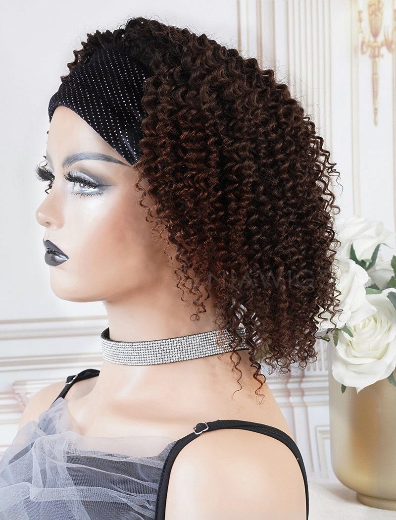 Nina Black Roots Medium Brown Base(#1BT#4 )Kinky Curls Headband Wigs (WITH ONE FREE TRENDY HEADBAND)