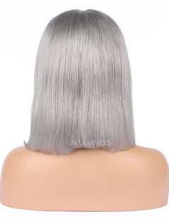 Load image into Gallery viewer, Silver Gray Human Hair Bob Wig Colorful Lace Wigs