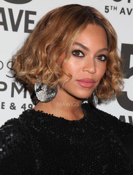 Beyonce Inspired Short Bob Curly Virgin Hair Lace Front Celebrity Wigs