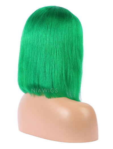Emerald Green Human Hair Bob Wig Colorful Lace Wigs