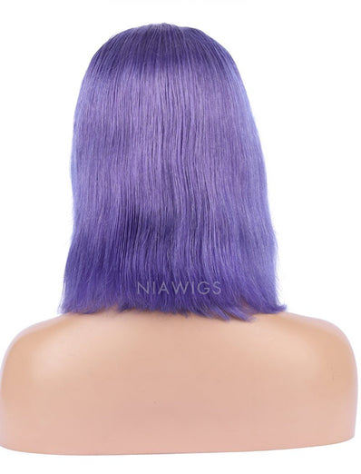 Lavender Human Hair Bob Wig Colorful Lace Wigs