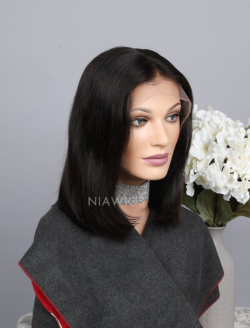 Silky Straight Bob Cut Human Hair Glueless Full Stretchable Wigs