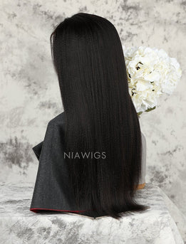 Yaki Straight Stock Wig Natural Color Human Hair Machine Made Wigs