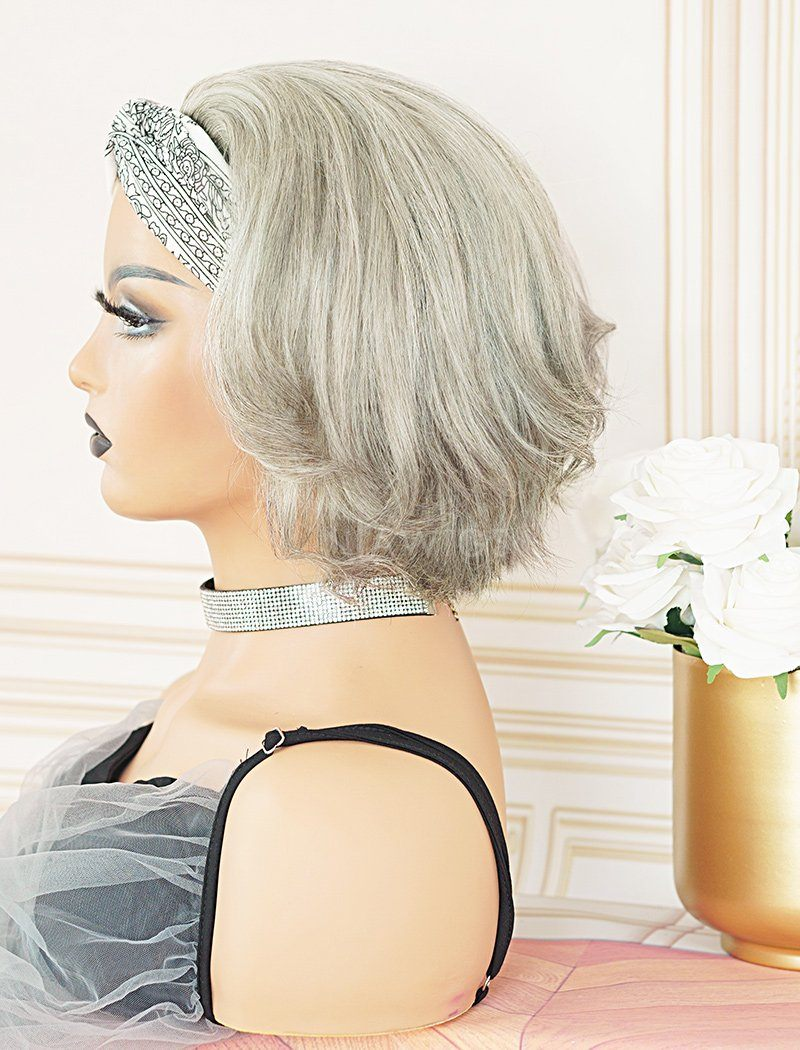 #Salt and Pepper Headband Wig Pixie Cut Human Hair Wigs (WITH ONE FREE TRENDY HEADBAND)