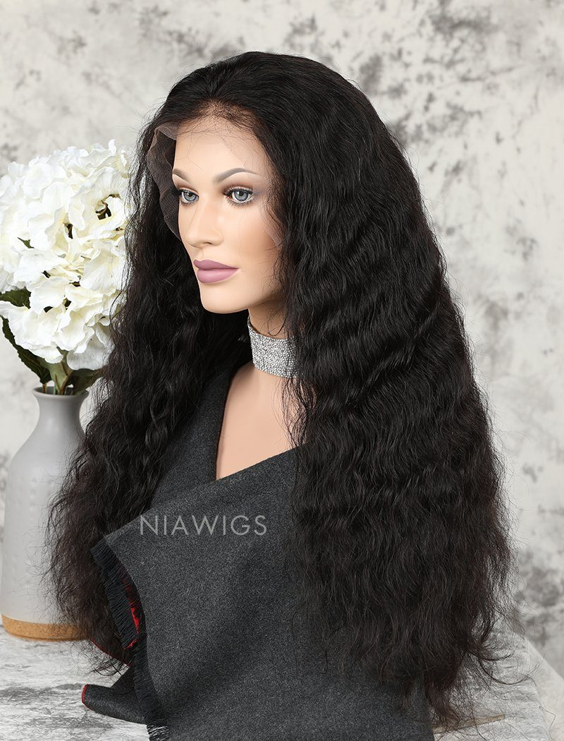 Water Wave Human Hair Lace Front Wigs With Natural Hairline