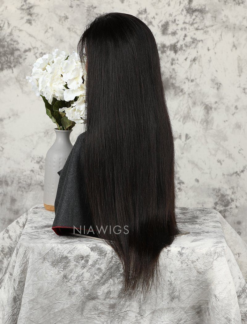 Silky Straight Human Hair Skin Base Lace Front Wigs