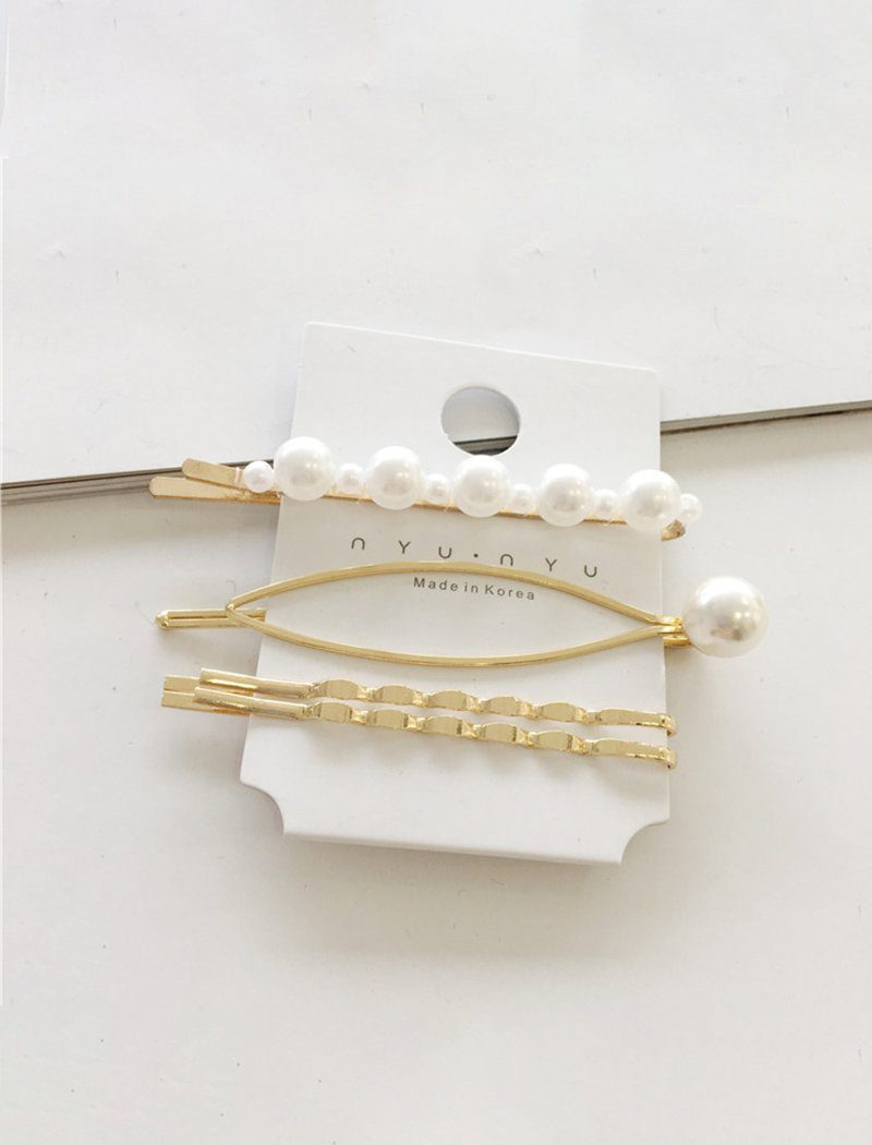 Chic Artificial Pearl Metal Hair Clips Barrettes