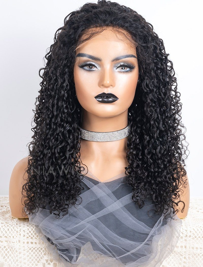 Curly Human Hair 5x5 Inches Lace Front Wigs With Natural Hairline