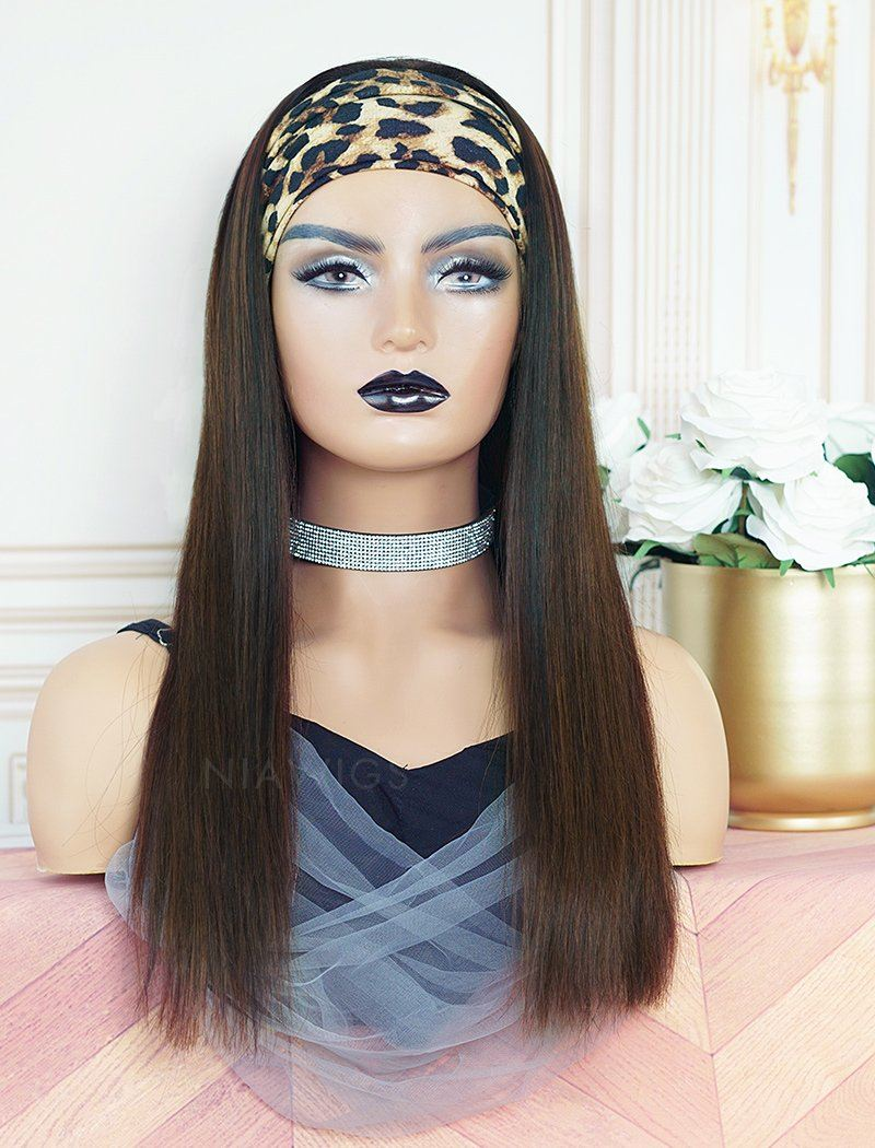 Jennifer #Dark Brown Headband Wig Human Hair Wigs(5 Pieces Free Trendy Headbands)