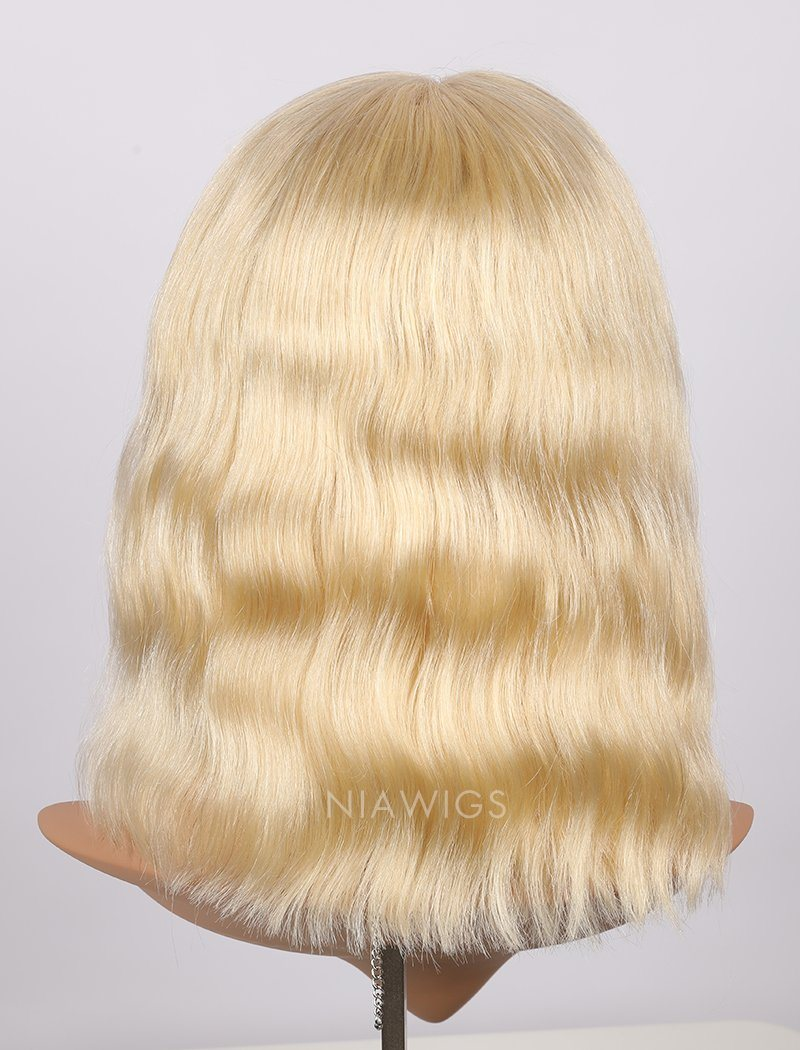 #613 Blonde Human Hair Lace Front Wigs Blunt Cut Natural Wavy