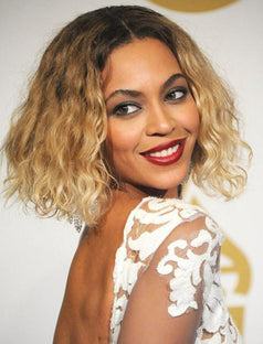 Load image into Gallery viewer, Beyonce Celebrity Blonde Curly Bob Virgin Human Hair Lace Front Wigs