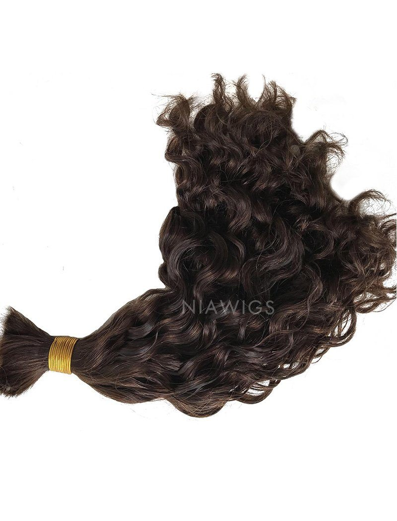 Load image into Gallery viewer, Bulk Hair Extenstion For Braiding Without Attachment #3 Chocolate Brown Natural Wavy