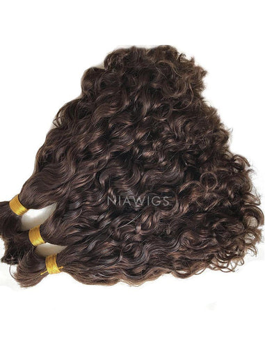 Bulk Hair Extenstion For Braiding Without Attachment #3 Chocolate Brown Natural Wavy