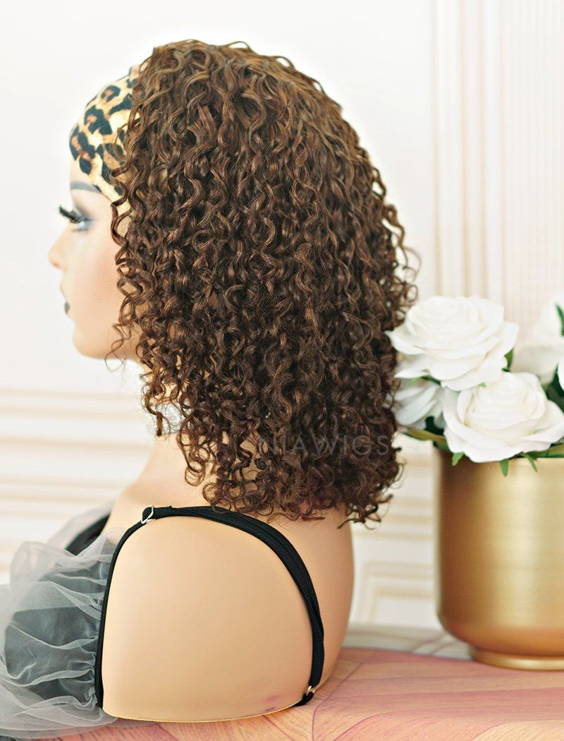 #4 Medium Brown Headband Wig Curly Human Hair Wigs (WITH ONE FREE TRENDY HEADBAND)