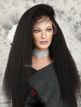 Kinky Straight Human Hair Glueless Full Lace Wigs